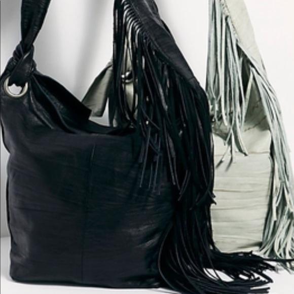 Free People Handbags - NWT🖤FP🖤Fringed Leather Crossbody Bag
